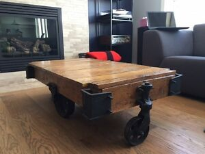 Solid Wood Trolley Coffee Table