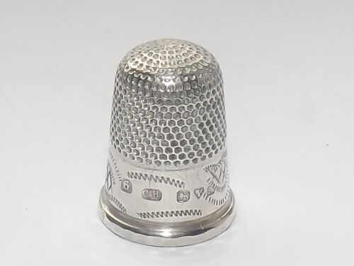 ANTIQUE CHARLES HORNER SOLID SILVER STERLING THIMBLE, SIZE 6, CHESTER c1915
