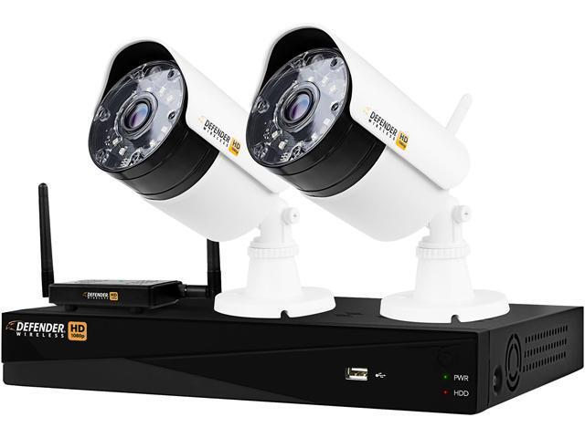 Defender 4-Channel, 2-Camera Indoor/Outdoor Wireless 1080p 1TB DVR Security System Black/white WHD1T4B2