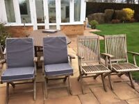 6 garden chairs and cushions