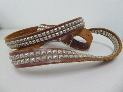 HOLLYWOOD TRADING COMPANY HTC DOUBLE WRAP SILVER STUDDED BROWN BELT 30