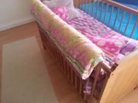 Baby cot bed with mattress and extra bathtube
