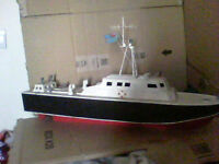 Wooden Pond Boat/Pond Racing Boat Unusual Ship style in very good condition very large 1960's