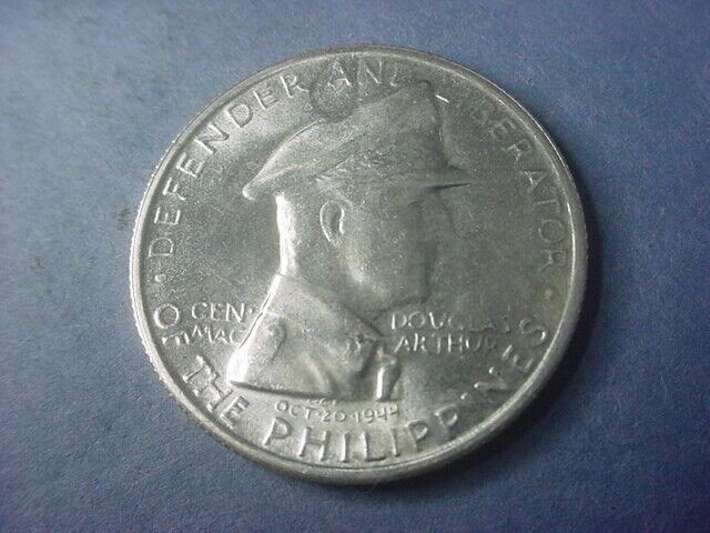 Philippines 1 Peso MacArthur 1947 S Silver Crown Nice BU #37690