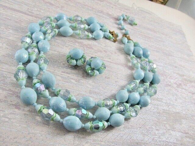 VtG Plastic Lt Blue Bead Faux Crystals 3 Strand Necklace & Earrings SET Austria
