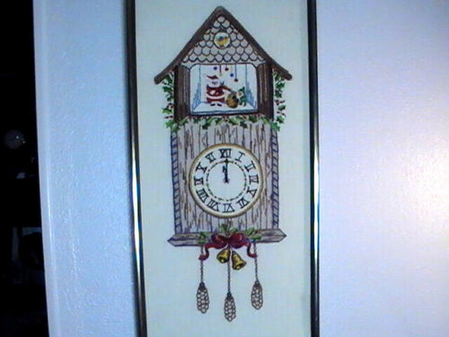 """Santa Clock Cuckoo Completed Needlepoint Embroidery Cross Stitch 1970s 13""""x27"""""""