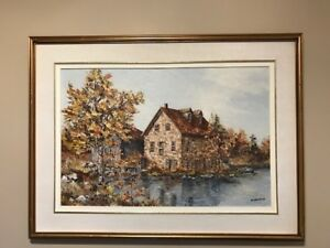 LINDA HETHERINGTON ORIGINAL OIL PAINTING , BEDFORD MILL