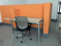 Modern Scaffolding Desk with Chair, office shelving, and other office furniture