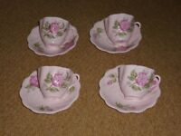 Coalport Camellia Bone China Cups and Saucers, 4 of each