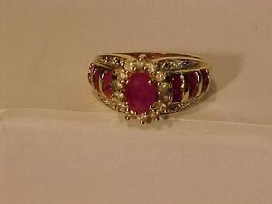 10K YELLOW GOLD **RUBY & DIAMOND RING --Size 9--HALLMARKED 10K-A NICE ADDITION TO YOUR RUBY COLLECTION.