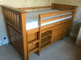 Solid Pine Mid Sleeper with Drawers, Desk and Cupboard