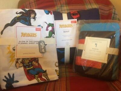 POTTERY BARN KIDS Avengers TWIN Quilt Sham Glow in Dark Cotton Sheets Set NEW