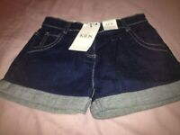 Girl's Demin Shorts Age 6-7 Years (Brand New)