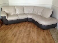 leather corner sofa and pouffe