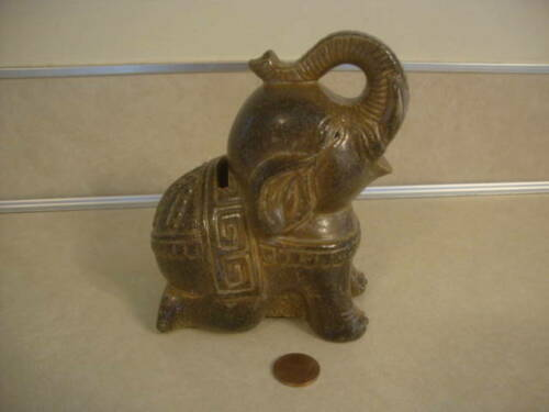 Collectible Elephant Bank Trunk Up and Back Legs Kneeling Circus Coin Pottery!