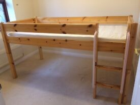 Thuka solid pine mid-sleeper bed with set of drawers and two sets of shelves underneath