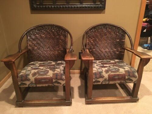 Pair of Vintage Rare Old Hickory Woven Back Tub Armchair Martinsville Indiana EX