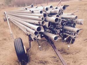 irrigation hand line aluminium pipes and field trailer
