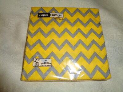 20 Paper + Design Servietten  Papierservietten Zick - Zack gelb grau OVP  NEU ()