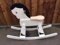 wooden built rocking horse
