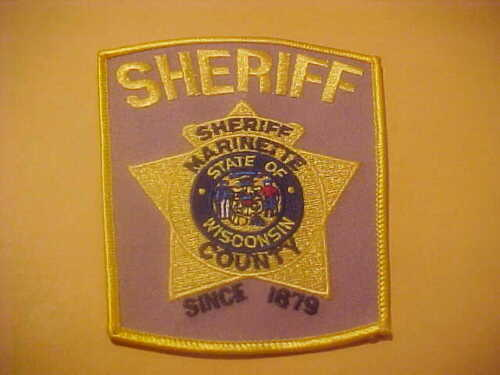 MARINETTE COUNTY WISCONSIN POLICE PATCH  SHOULDER SIZE NEW TAN