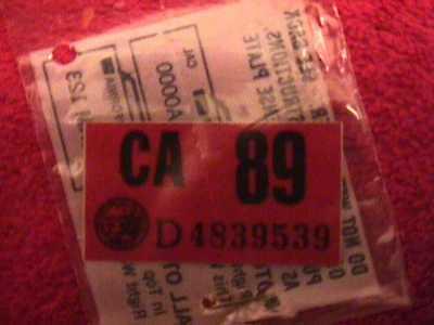 Not Repro   Ca License Plate 1989 Sticker  Original Dmv Issued