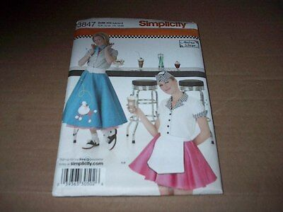 Simplicity Pattern 3847 Misses' Waitress / Car Hop Costume  Size 6 ~ 12 Unc