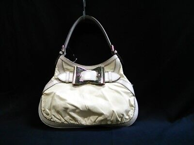 Auth GUCCI QueenHobo 189835 Ivory White Leather Shoulder Bag