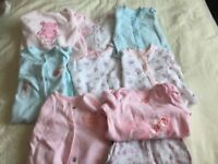 Bundle of baby girls sleepsuits size 0-3 months