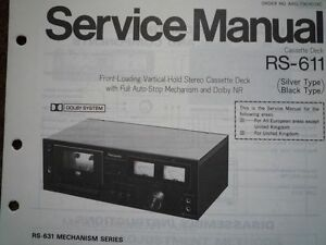 PANASONIC-RS-611-RS-631-Cassette-Deck-Service-manual-wiring-parts-diagram