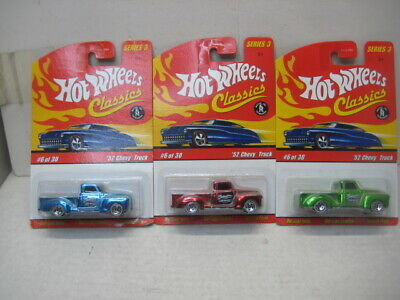 HOT WHEELS 2006 CLASSIC SERIES 3  MINT ON CARD LOT OF 3 1952 CHEVY P/U NO DUPES