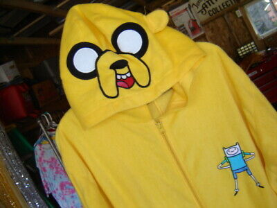 Adventure Time Jake Pajamas (Adventure Time JAKE Adult YELLOW Costume PJ's Pajamas Hood Mask Hat  XL)