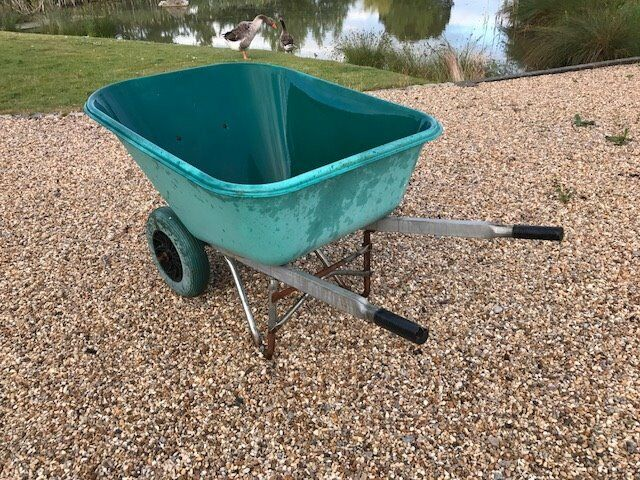 Used Large Plastic Wheelbarrow Two Wheels 200L Green with puncture proof wheelsin Towcester, NorthamptonshireGumtree - We bought this large plastic wheel barrow in 2014 for mucking out the stable for our two horses. As we are relocating in July, the wheelbarrow also has to leave. As we constantly had punctures with our wheelbarrow, we have upgraded it with solid,...