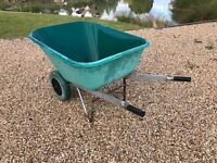 Used Large Plastic Wheelbarrow Two Wheels 200L Green with puncture proof wheels