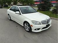 2009 MERCEDES BENZ C230*6SPD*WHITE ON BLACK*NO ACCIDENTS*MOON