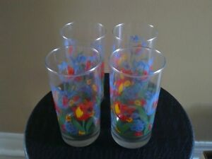 Brand new set of 4 tulip floral printed glass drinking tumblers