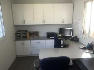 OFFICE TRAILER WITH CUSTOM CABNETS & DESKS