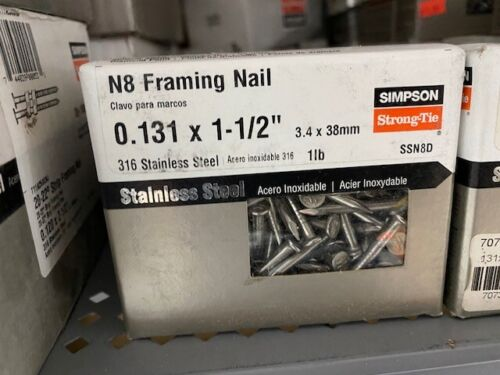 """Simpson Strong-Tie N8 Framing Nail Stainless Steel 0.131 x 1-1/2"""" 1lb"""