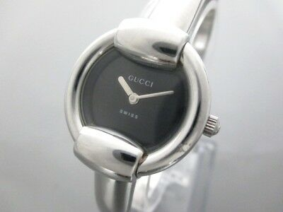 Auth GUCCI 1400L Silver Black Women