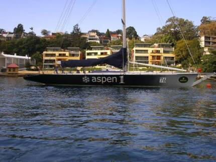Volvo 60 modified to sled 77 ft racing maxi yacht