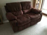 2-seater Recliner Sofa in Faux Suede in Excellent Condition