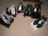6 PAIRS OF SMART/EVENING SHOES, HIGH HEELS, SIZE 7
