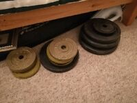 Free weights - assorted 10kg/7.5kg/multiple other weights approx 60kg