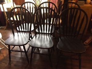 Refinished Set of 6, Solid Oak Arrowback Chairs/Black/Distressed