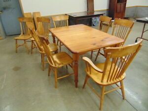 9 PIECE PINE AND MAPLE TABLE & CHAIR SET