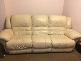 3 seater cream electric recliner sofa + electric recliner armchair in leather