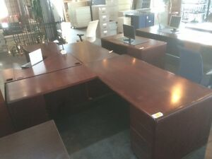 Used L-Shape  Wood Desk with Double Pedestal