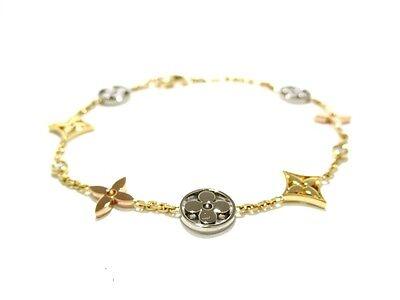 Auth LOUIS VUITTON 18K Tricolor Diamond Bracelet Monogram Idylle Tour Tous