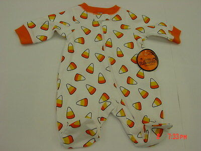 NWT Baby Infant Halloween Themed Sleeper Playsuit Unisex Candy Corn - Halloween Themed Dessert