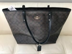 Brand New COACH monogrammed leather zip tote with tags